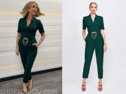 kate garraway, green chain jumpsuit, good morning britain