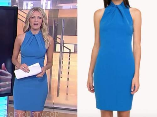 carley shimkus, fox and friends, blue halter dress