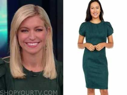 ainsley earhardt, fox and friends, green suede puff sleeve dress