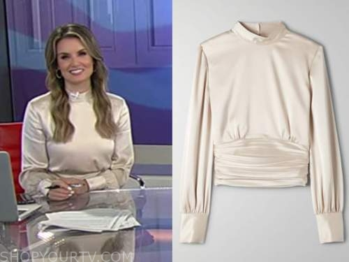 jillian mele, fox and friends, satin mock neck top