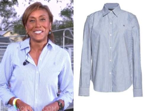 robin roberts, blue striped shirt, good morning america