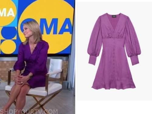 amy robach, good morning america, purple satin dress
