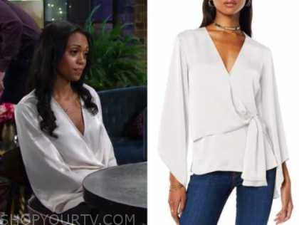 amanda sinclair, the young and the restless, mishael morgan, ivory wrap top