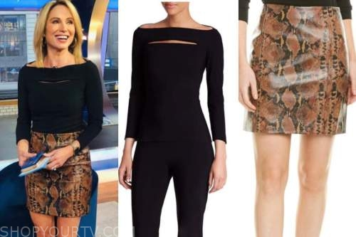 amy robach, good morning america, black boatneck top, brown leather snakeskin skirt