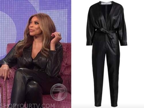 wendy williams, the wendy williams show, black leather jumpsuit