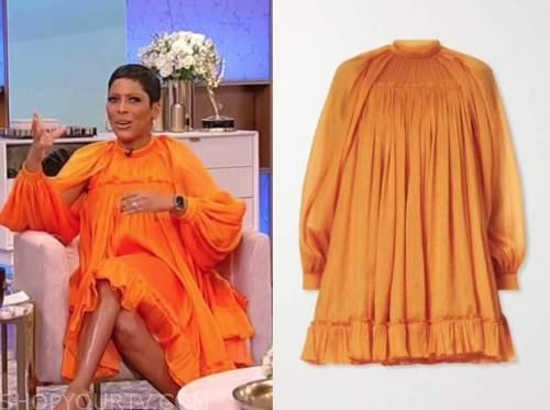 tamron hall, tamron hall show, orange mock neck dress
