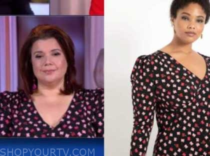 ana navarro, the view, black and pink floral v-neck top