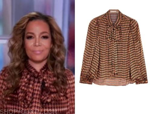 sunny hostin, the view, houndstooth tie neck blouse