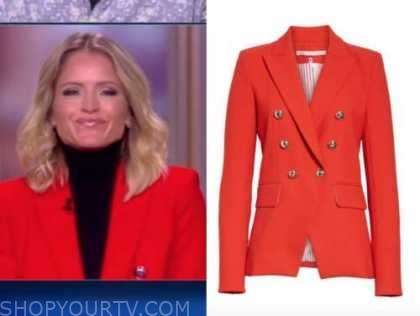 sara haines, the view, red double breasted blazer