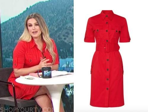 carissa culiner, E! news, daily pop, red shirt dress