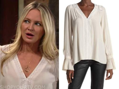 sharon newman, sharon case, the young and the restless, ivory v-neck blouse