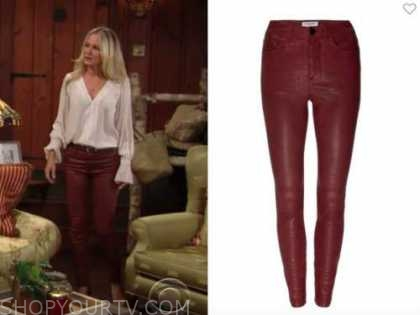 sharon newman, sharon case, the young and the restless, burgundy red leather pants