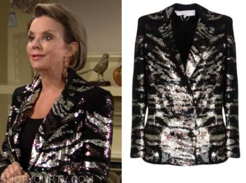 gloria abbott, judith chapman, the young and the restless, sequin zebra blazer