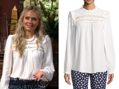 abby newman, melissa ordway, the young and the restless, white dot ruffle top