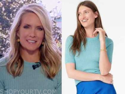 dana perino, the daily briefing, blue ribbed knit top, the five
