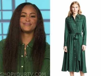 eve, the talk, green silk shirt dress