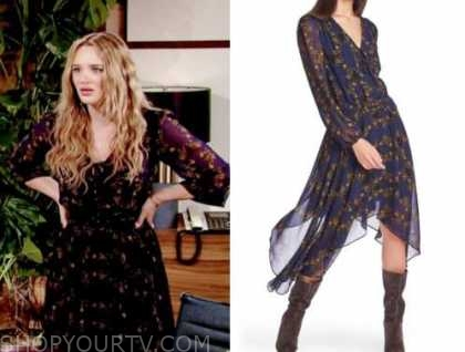 summer newman, hunter king, the young and the restless, navy floral handkerchief hem dress
