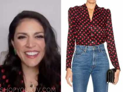 cecily strong, the kelly clarkson show, black and red polka dot blouse