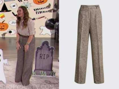 drew barrymore, drew barrymore show, wool wide leg pants