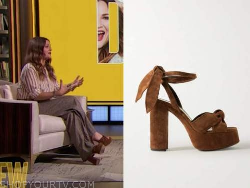 drew barrymore, drew barrymore show, brown suede platform sandals