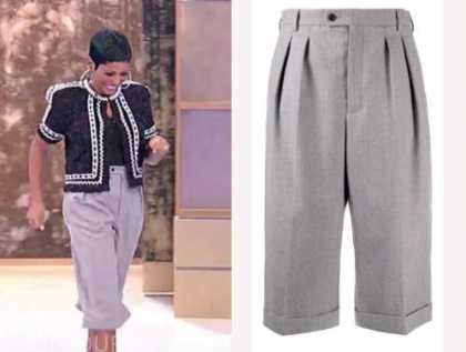 tamron hall, tamron hall show, grey culottes, cropped pants, shorts
