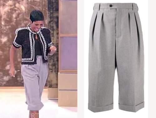 tamron hall, tamron hall show, grey culottes, cropped pants, shorts