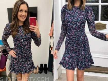 laura tobin, floral puff sleeve dress, good morning britain