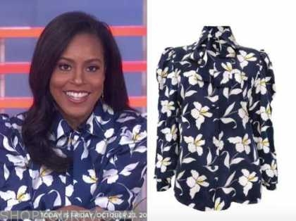sheinelle jones, the today show, blue and white floral blouse