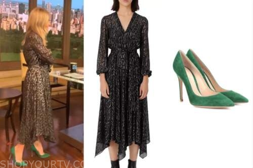 kelly ripa, metallic midi dress, green suede pumps, live with kelly and ryan