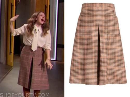 drew barrymore, drew barrymore show, plaid wool iverted pleat skirt