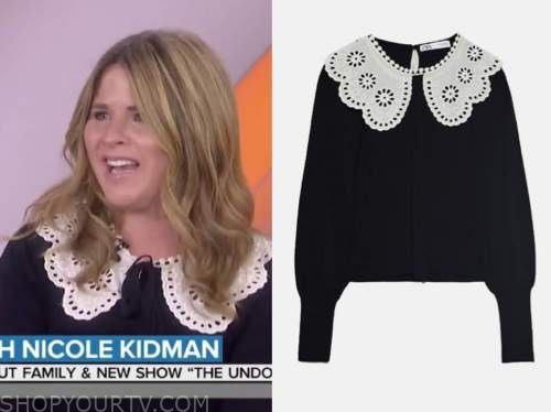 jenna bush hager, black and white lace collar sweater, the today show