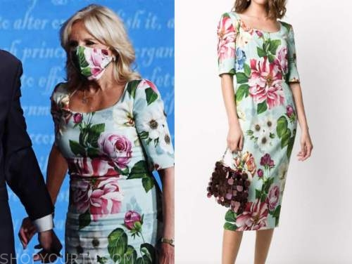 dr. jill biden, presidential debates, blue floral dress