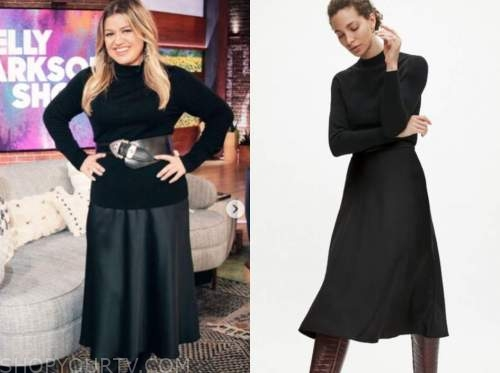 the kelly clarkson show, kelly clarkson, black sweater, black satin skirt