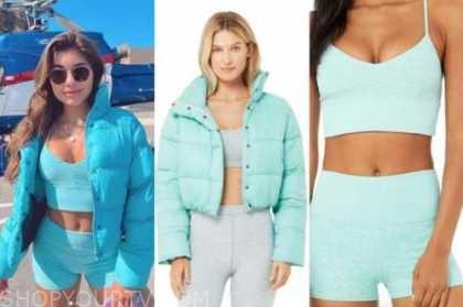 hannah ann sluss, the bachelor, blue puffer jacket, sports bra, and biker shorts