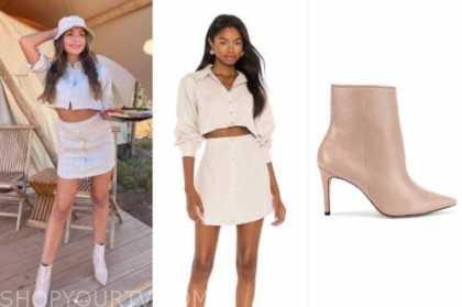 hannah ann sluss, the bachelor, linen crop top and skirt, booties