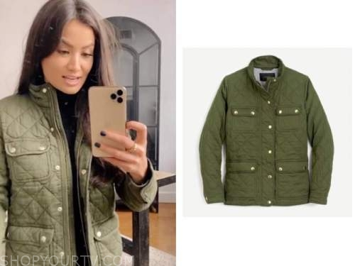 caila quinn, the bachelor, green quilted jacket
