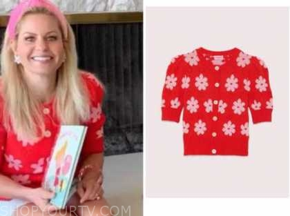 candace cameron bure, red and pink floral sweater,