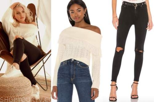 emily ferguson, the bachelor, white fringe, black cutout jeans