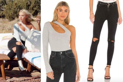 emily ferguson, the bachelor, grey one-shoulder cutout top, ripped jeans