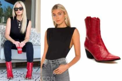 haley ferguson, the bachelor, black top, jeans, red boots, black sunglasses