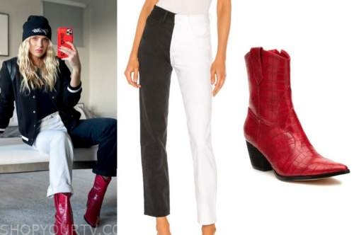 haley ferguson, the bachelor, black hat, colorblock jeans, red boots