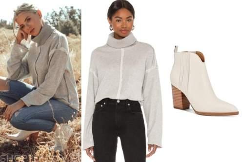 haley ferguson, the bachelor, grey turtleneck sweater, ivory boots