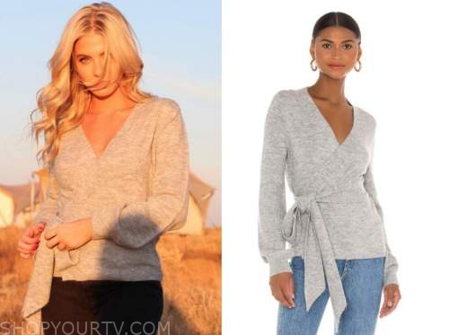 haley ferguson, the bachelor, grey wrap sweater