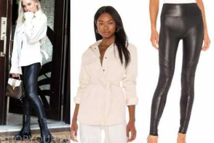 haley ferguson, the bachelor, ivory shacket, black quilted leggings, combat boots