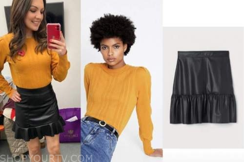 laura tobin, mustard sweater, black leather skirt, good morning britain
