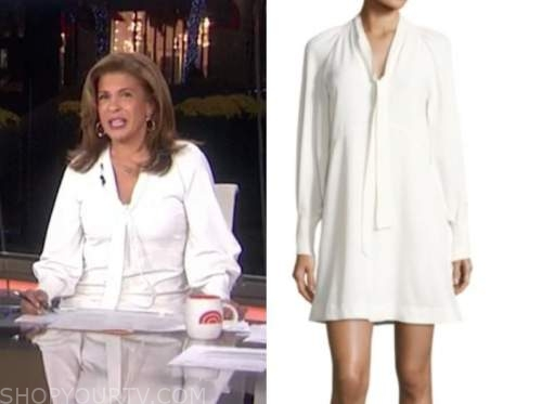 hoda kotb, white tie neck shift dress, the today show