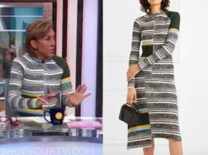 robin roberts, good morning america, striped knit sweater and skirt set