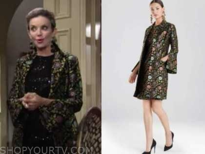 gloria abbott, the young and the restless, floral jacquard coat, judith chapman