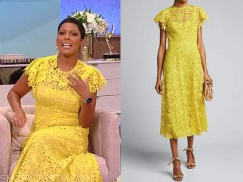 tamron hall, tamron hall show, yellow lace midi dress