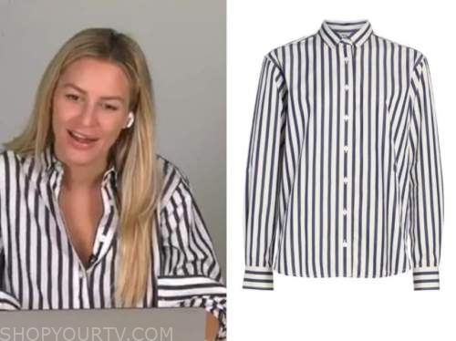 morgan stewart, blue and white striped shirt, E! news, daily pop